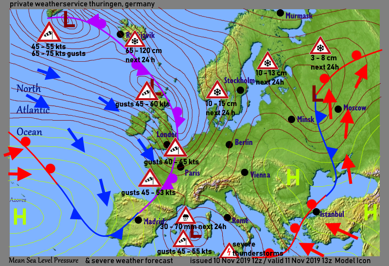 Weatherconditionas with severe weather forecast